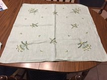 Antique Green Floral Hand Embroidered Card Table Tablecloth in St. Charles, Illinois