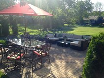 Patio Furniture w/ 7 piece dining Set, 7 piece couch set, and umbrella in Naperville, Illinois