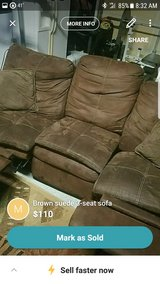 brown suede recliner couch in Beaufort, South Carolina