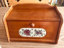 Bread Box Wooden Flip Front-Apple Design Inlaid  Front in Bolingbrook, Illinois