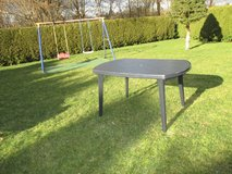 blue oval lawn table in Ramstein, Germany