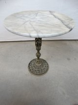 Marble Topped Brass Base Accent Table in League City, Texas