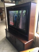 "*** 50"" SANYO FLAT SCREEN SMART TV with SOLID WOOD ENTERTAINMENT CENTER *** in Fort Lewis, Washington"