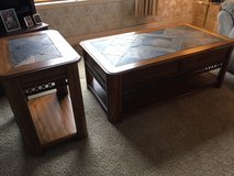 Solid Oak with Granite Rock Top Coffee and End Table Set *** EXCELLENT CONDITION *** in Fort Lewis, Washington