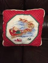 Christmas Pillow w/Santa driving his reindeer in Naperville, Illinois