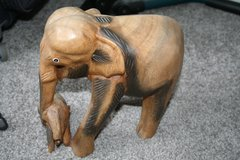Wooden elephants in Lakenheath, UK