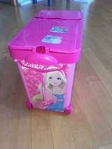 Barbie Wheeled Storage Bin Pink with Handle - Store all of the Barbie Stuff! in Bolingbrook, Illinois