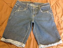 Glo juniors size 5 longer denim jeans shorts darker wash in Manhattan, Kansas