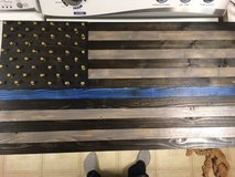 Blue Line custom wood flag with bullet casings in Chicago, Illinois