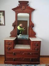 GORGEOUS!  ANTIQUE EAST LAKE MARBLE TOP DRESSER VANITY - Excellent Condition!! in Naperville, Illinois