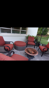 Excellent condition, 11 pcs. Patio set and 4 new waterproof chair cover. in Okinawa, Japan