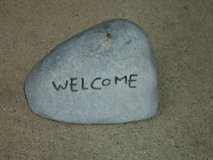 """fake rock """"welcome"""" in Naperville, Illinois"""