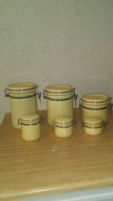 vintage yellow canister set in 29 Palms, California