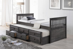 NEW! QUALITY GREY FINISHED WOOD TWIN CAPTAIN BEDFRAME W/TRUNDLE in Camp Pendleton, California
