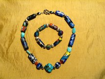 Venetian glass bead necklace and bracelet with sterling silver beads and clasp in 29 Palms, California