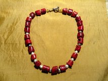 Red Coral Necklace with genuine freshwater pearls and sterling silver beads in 29 Palms, California