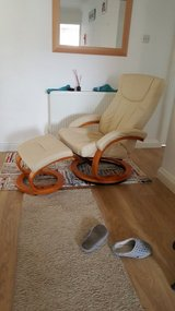 Leather chair and footrest in Lakenheath, UK