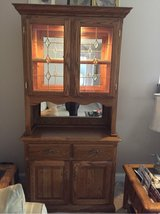 Lighted Oak China Cabinet with mirrors in Wilmington, North Carolina