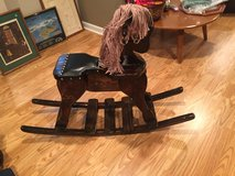 Vintage Wooden Rocking Horse with Leather Saddle in Naperville, Illinois