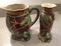 Majolica Bamboo/Frog Pitcher and Vase in Naperville, Illinois