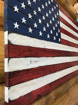 Distressed wood US flag in Colorado Springs, Colorado
