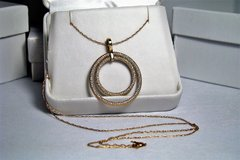 """10Kt Yellow Gold Double Ring Pendant 20"""" Necklace in Camp Lejeune, North Carolina"""
