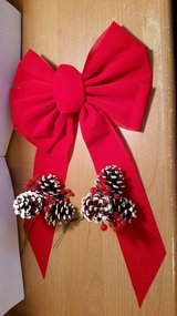 "Large 10"" Red Velvet like Bow & 2 Pine cone Decorative Picks.  Ideal to add to Wreaths in Byron, Georgia"