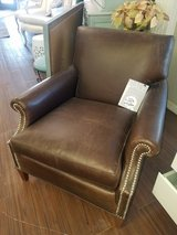 Chocolate Brown Leather chair with nailheads in Elgin, Illinois