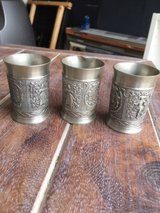 Antique German Pewter Shot Glasses  - two are excellent, one is bent in Stuttgart, GE