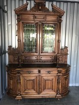 Walnut Sideboard Henry 11 1850's Stain Glass Cabinet Doors in Cherry Point, North Carolina