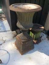 2 Antique Cast Iron Plant Urns in Conroe, Texas