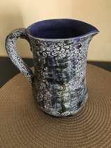 Unique blue pottery pitcher with signature in Chicago, Illinois
