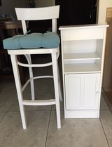 restored wooden chair & small storage shelf in Yucca Valley, California