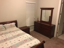 Solid Wood Bedroom Set - Dresser/Nightstand/Bed (Frame/Mattress/Sheets/Pillows) in Lackland AFB, Texas