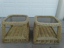 Rattan End Tables with Smoked Glass Tops in Alamogordo, New Mexico