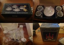 Silver plated rose bowl and 3 candle holder and International Silver Demitasse set in Las Vegas, Nevada