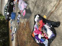 Driveway full of free items and clothes in Hinesville, Georgia