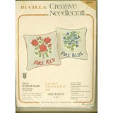 VTG BUCILLA CREWEL EMBROIDERY 2 PILLOW KIT Roses Violets NIP in Westmont, Illinois