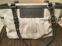 Gray and white leather Coach bag in Ramstein, Germany