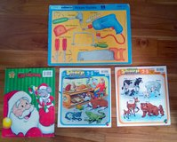 Set of 4 children's board puzzles Christmas tools animals in Bolingbrook, Illinois