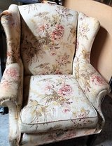 Beautiful Wing Back Flower Floral Chair Club Living Room Dining Study Desk Yellow Cabbage Rose R... in Kingwood, Texas