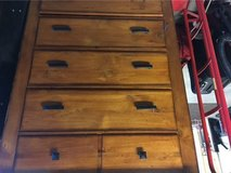 Three piece Solid Oak bed room set. one tall dresser as seen in post, also one long, and one nig... in Huntsville, Alabama