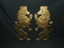 Brass Royal Lions Wall Décor *Shield size* Plaques Set Vintage Britannic Medieval in Lockport, Illinois