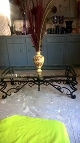 VINTAGE GLASS TOP WROUGHT IRON TABLE in Biloxi, Mississippi
