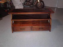 Wood & Glass TV Stand with two bottom drawers in Hinesville, Georgia