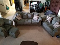 Microfiber Couches, Chair and Ottoman in Travis AFB, California