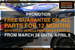 FREE 12 MONTH GUARANTEE on every USED Car Purchase this week! in Stuttgart, GE