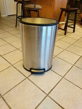 Stainless steel trash can in Lawton, Oklahoma