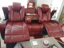 Red sofa with two recliners in it must go in The Woodlands, Texas