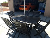 TEAK outdoor dining table and chairs (6) in Fort Irwin, California